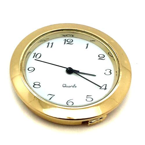 "Mini Clock Quartz Movement Fit Up Insert Round 1 7//16/"" Gold Silver Bezel Repair"