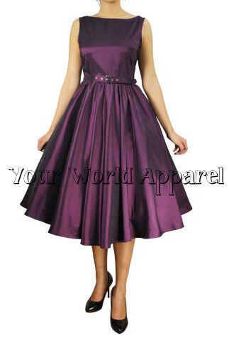 Hepburn Style Eggplant Rockabilly Swing  Pinup Prom Retro Satin Dress 1950's 60s
