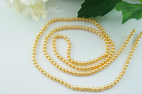 180 beads//strand 4MM Yellow Gold Color Imitation Acrylic Loose Round Pearl Beads