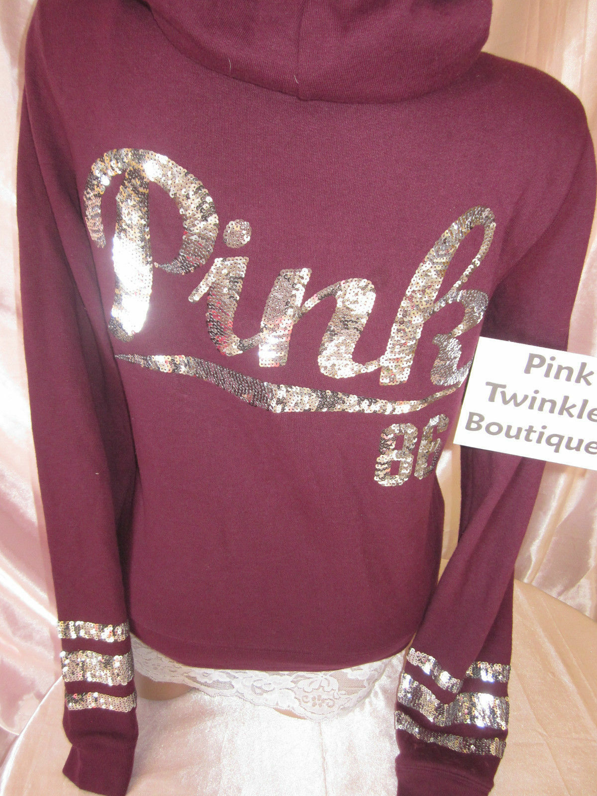 Victorias Secret PINK Womens Hoodie Small Zip Sweatshirt Sweatshirt Sweatshirt Sequin Bling Burgundy 26f8b1