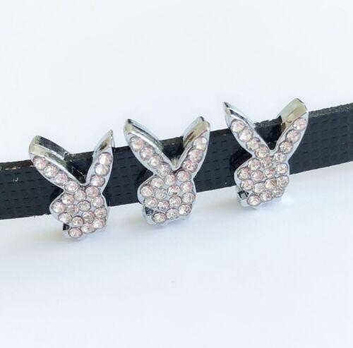 10pcs Silver Rhinestone rabbits Slide Charms DIY Fit 8MM Wristbands,Collar Belts