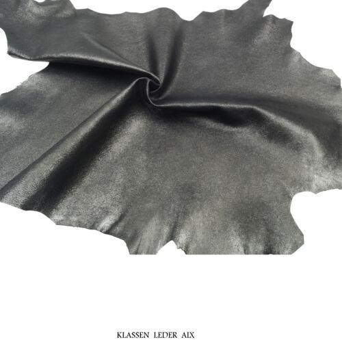 Lammleder Platin Antik Metallic Design 0,9 mm Dick Echt Leder Leather X114