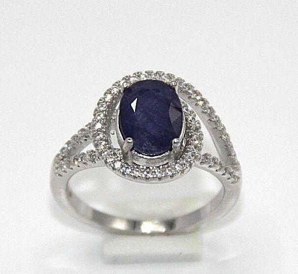 Saphir Ring  Saphir & Cz   925 Sterling silver  Ø 17.5 mm