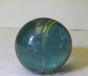 8029m Larger .76 Inches Vintage German Handmade Blue Glass Indian Marble  *Mint*