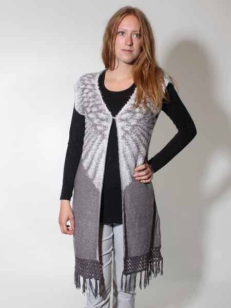 30% Knit Cardigan Size 38-44 Ladies Simclan Anthra Wool White Fringes, New