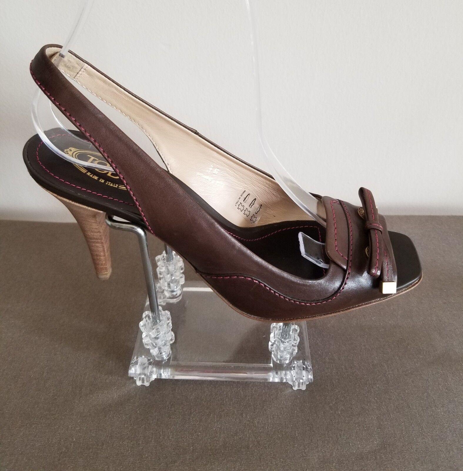 Tod's Marronee Sandals  Heels Open Toe Slingback Stitches Dimensione EU 38 US 8  design semplice e generoso