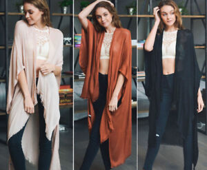 Women-039-s-Solid-Long-Kimono-Duster-Cardigan-Fringe-Open-Front-Wrap-Boho-Hippie-OS