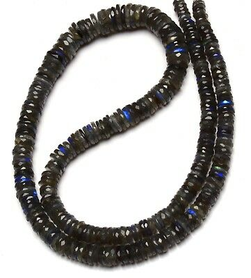 """Natural Gem Blue Fire Labradorite 5MM Approx Smooth Heishi Beads Necklace 17/"""""""