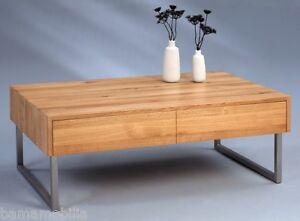 couchtisch mit edelstahl gestell u schublade wildeiche massiv 105 x 65 x h40 ebay. Black Bedroom Furniture Sets. Home Design Ideas