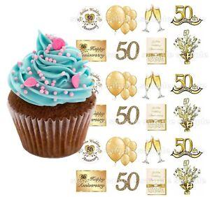 Goldene Hochzeit Essbar Tortenbild Party Deko Muffinaufleger Cupcake