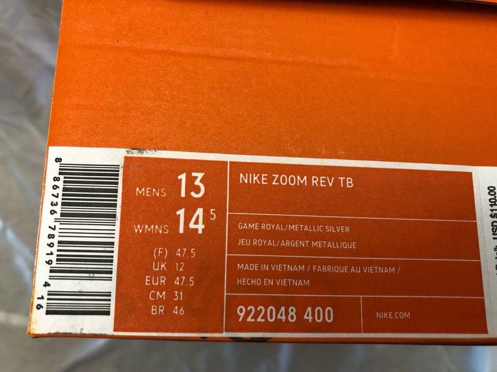 Nike Zoom Rev Rev Rev TB 2017 922048-600 Royal Metallic Silver White sz 10 to 13.5  110 b4ca13