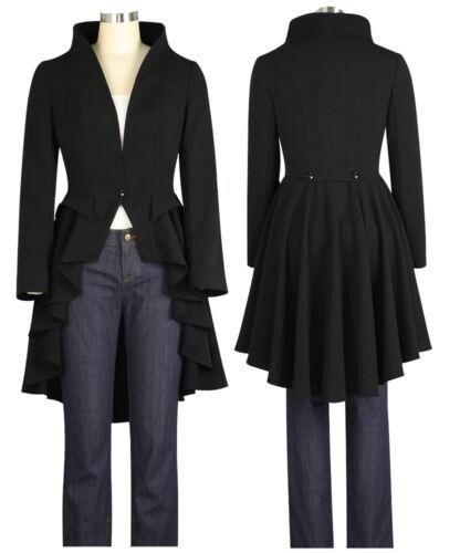 6 a Jacket 28 Star Uk Chic Tailcoat Style Victorian Steampunk Black Da AOvqFza