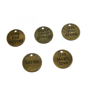 Lot-of-5-Mix-Antiqued-Bronze-Metal-Alloy-Engraved-Round-Tags-Charms-Pendants