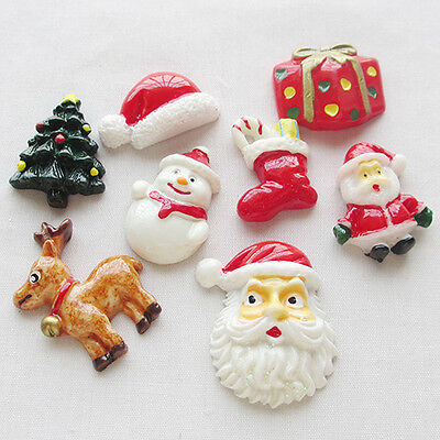 24pcs Mix X'mas Resin Flatbacks Flat Back Scrapbooking Buttons Lots B0356