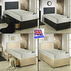 innovative design 3d2c3 e58b8 Details about 3FT SINGLE DIVAN BED WITH 1500 POCKET SPRUNG MATTRESS +  STORAGE OPTION + H/BOARD