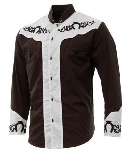 Men/'s Charro Shirt Camisa Charra El General Western Wear Color Brown//White