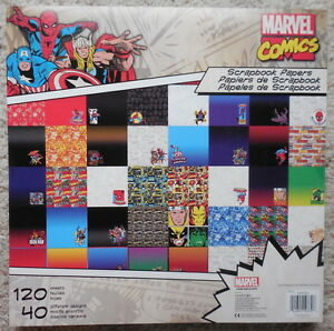 marvel superhero avengers scrapbook paper pad stack 40 designs 120