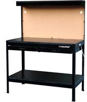 Workbench Heavy Duty Steel 2 Storage Drawer Led Light Table Garage Shop Pegboard
