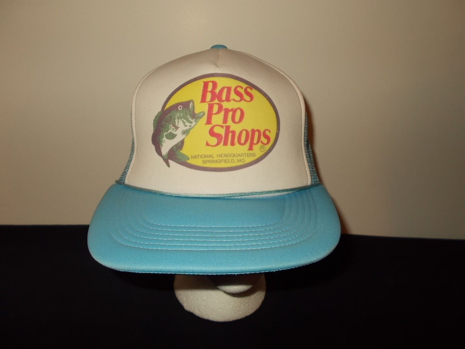 VTG-1980s Bass rope Pro Shops Springfield Headquarters trucker rope Bass mesh hat sku6 e4158b