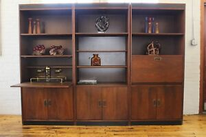 Details About Mid Century Danish Modern Walnut Wall Unit Shelves