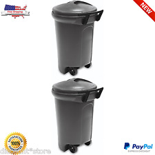 Wheeled Trash Can Garbage Outdoor Bin Lid Waste Recycling Container Toter Black