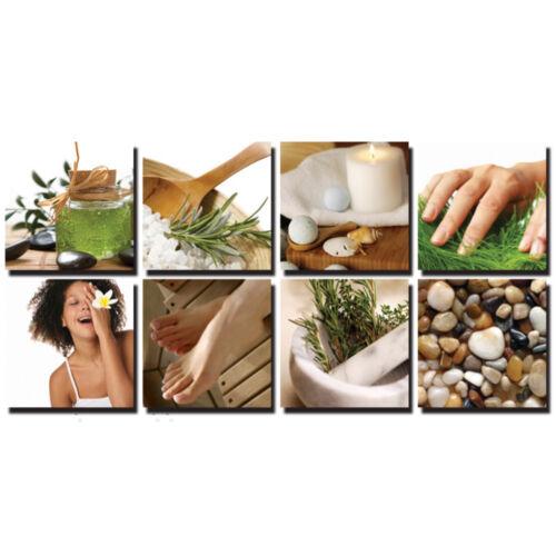 NATURAL 8 Pc Beauty Salon Spa Massage Decal Decoration 24 x 24 Canvas Mural