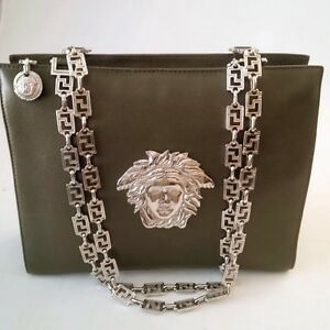 Image is loading GIANNI-VERSACE-COUTURE-PEBBLED-LEATHER-MEDUSA-GRECA-HANDBAG - 137faed9ebf06