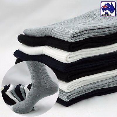 5Pairs Men Socks Sock Black White Grey Bamboo Fiber Above Ankle Long CSOCK 79
