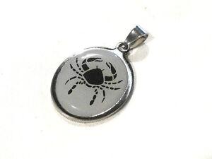 Bijou-acier-pendentif-ovale-signe-du-zodiaque-cancer-pendant