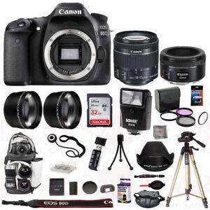 Details about Canon EOS 80D Camera 18-55mm 50mm STM Lens 4 Lens Flash  Backpack 32GB Tripod Kit