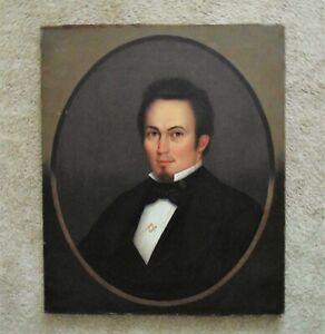 19th c. HORACE BUNDY Portrait Oil Painting Gentleman Man w/ Masonic Pin Antique