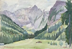 Acquerello-Impressionista-Alta-Goll-Alto-Tavola-Alm-Berchtesgadener-Alpi-Firmato