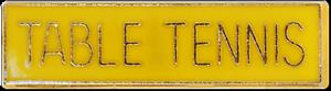 Table Tennis Bar Pin Badge in Yellow Enamel