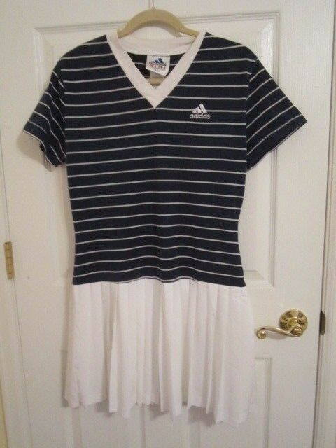 Vintage Adidas Dress Tennis Dress Size Large Navy bluee top with Pleated skirt