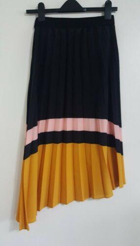 NEW ex Benetton Black Multi Elasticated Waist Asymmetric Hem Crinkle Skirt XS-M