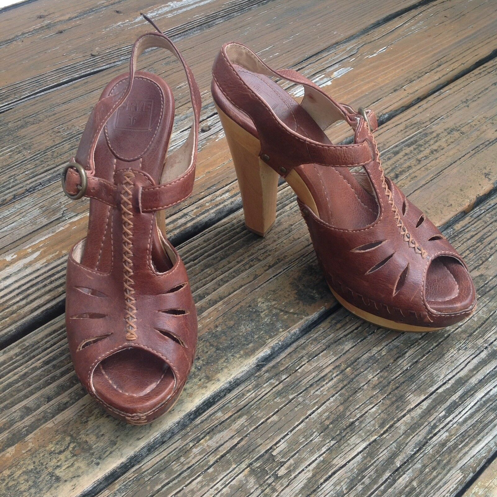 Frye Brown Leather Fran X Stitch Platform Wood Peep Toe Sandals 8.5 Womens Heels