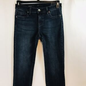 New-KUT-From-The-Kloth-Straight-Leg-Stretch-Jeans-Womens-Dark-Distressed-Denim