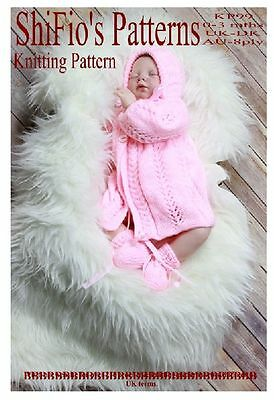 KNITTING PATTERN BABY JACKET, HAT & BOOTIES 0-3, 3-6MTHS # 99 BOOKLET