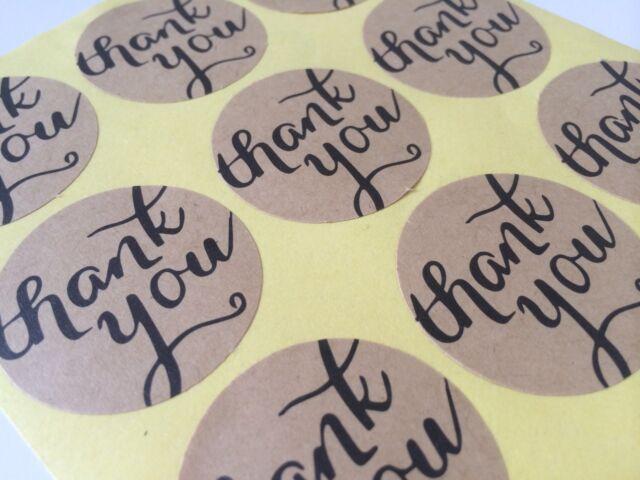Kraft THANK YOU Sticker Round Label Seal For Envelope, Bonbonniere ect