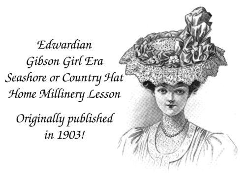 1903 Seashore Country Hat Instructions Pattern Victorian Edwardian Gibson Girl 1