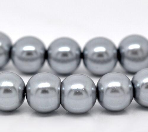 7C 2 x 32inch strand gris perle ~ ~ 4 mm ronde perles de verre ~ ~ bracelets collier