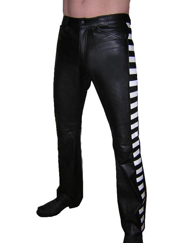 DEsigner Lederhose schwarz weiß Lederjeans leather trousers pants schwarz Cuir