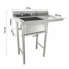 39 Stainless Steel Sink With Drainboard Heavy Duty Sink Versatile For Kitchen