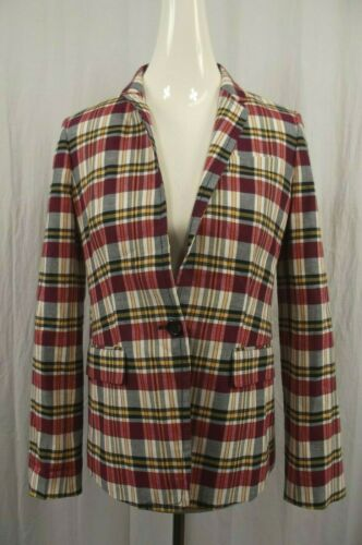 Jacket J Suit Plaid Madras Womens New Regent Sz Burgundy 4 Nwt Crew Blazer Coat dXaAw6cTq