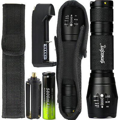 8000LM XML T6 Zoomable Tactical LED Flashlight Torch Lamp +18650 Battery+Charger