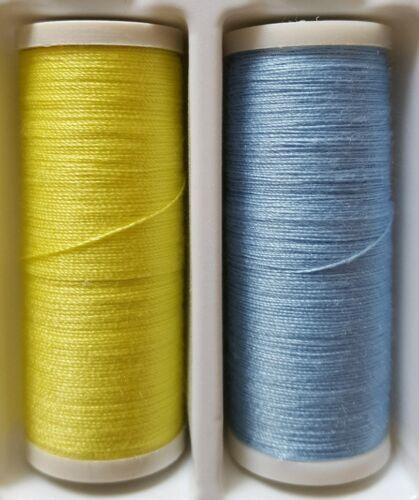 Nuevo Calidad 1 X cada amarillo y azul 180m Algodón Hilo De Coser Mano//máquina.