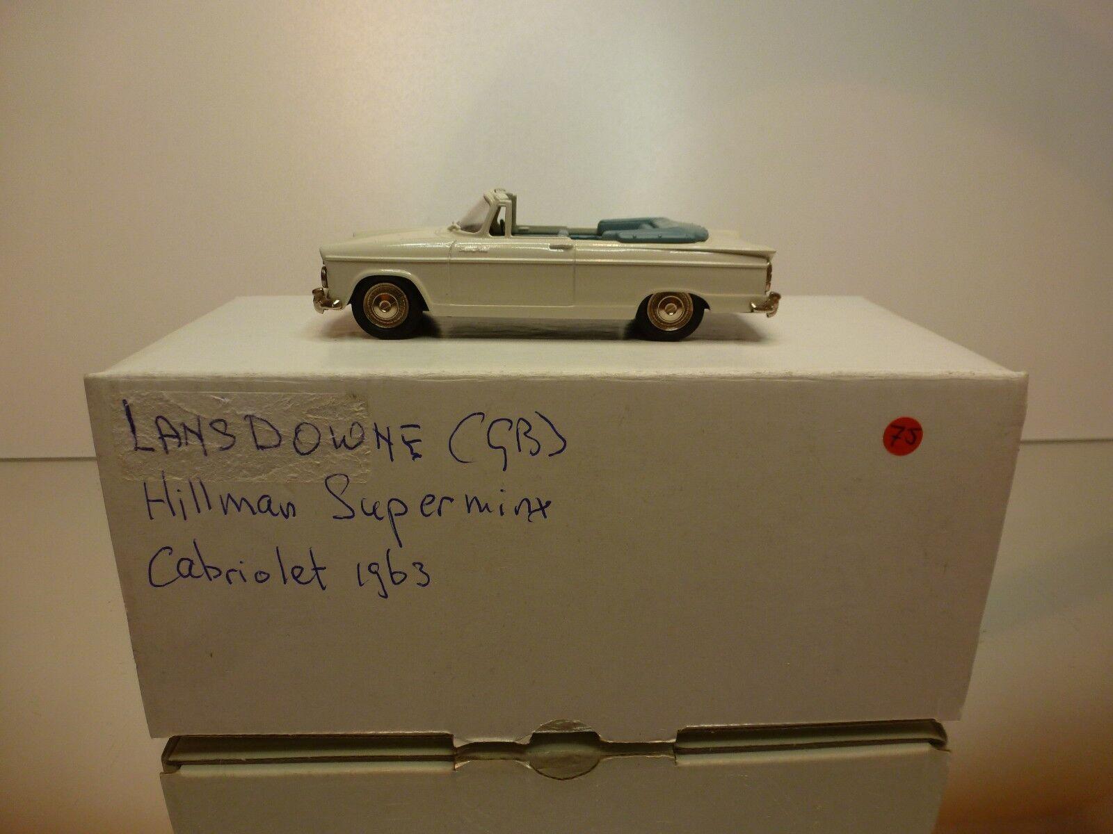 LANSDOWNE 13 HILLMAN SUPERMINX CONgreenIBLE 1963 - WHITE 1 43 - EXCELLENT IN BOX