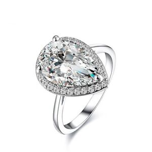 prong setting solitaire rings pear shaped cubic zircon