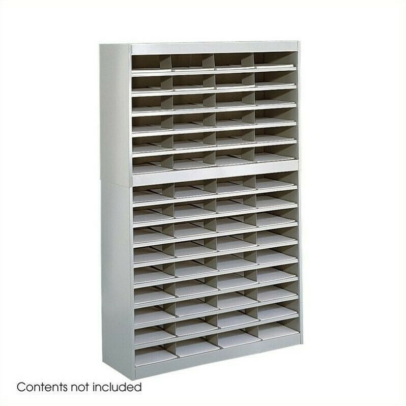 Safco E-Z Stor Grey Mail Organizer -  60 Letter Size Compartments