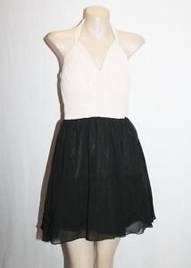 Knight-Angel-Brand-Black-Beige-Chiffon-Sweetheart-Prom-Dress-Size-8-BNWT-SL63
